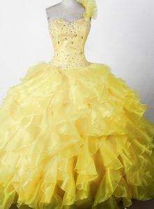 2014 Yellow One Shoulder Little Girl Pageant Dress Ruffles Decorate