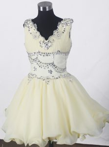 -line V-neck Beaded Little Girl Pageant Dress in Mini-length