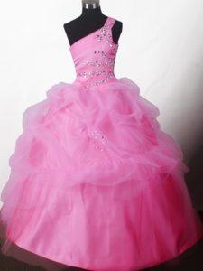 Louisiana Beading One-shoulder Little Girl Pageant Dress in Pink