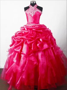 Pick-ups and Beading for Halter Little Girl Pageant Dress for Discount