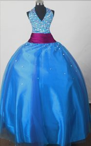Halter Top Blue Beaded Little Girl Pageant Dress Purple Sash Accent