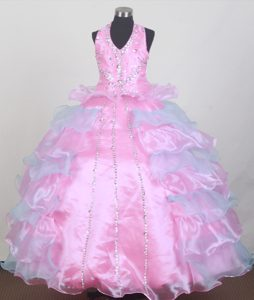 Pink and blue Beaded Halter Little Girl Pageant Dress with Ruffles