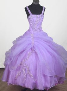 Strap Appliques for Lilac Little Girl Pageant Dress Ball Gown Style