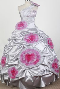 One Shoulder Little Girl Pageant Dress with Beading and Flowers