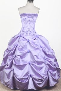 Lilac Little Girl Pageant Dress Embroidery with Beading Decorate