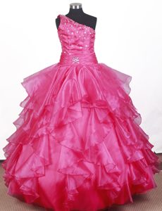 One Shoulder Ruffles for 2014 Little Girl Pageant Dress in Iowa