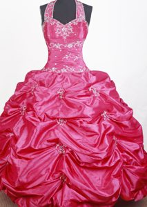 Pink Embroidery with Beading Halter Top Little Girl Pageant Dress