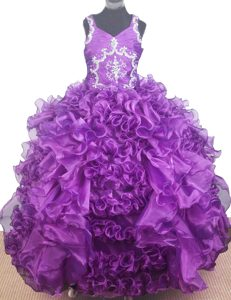 Beading and Ruffles for V-neck Purple Little Girl Pageant Dress