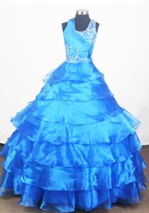 Blue Ruffled Layers Little Girl Pageant Dress Halter top Neckline