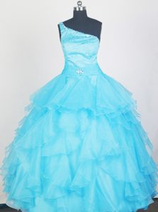 Aqua Blue One Shoulder Beaded Girls Pageant Dresses with Ruffles