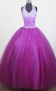 Massachusetts Halter for Beaded Purple Little Girl Pageant Dress