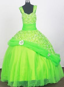 Spring Green Little Girl Pageant Dresses Beading and Belt Decorate