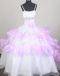 Idaho Little Girl Pageant Dresses with Beading and Ruffled Layers