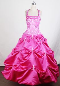 Halter Hot Pink Glitz Pageant Dresses with Embroidery and Pick-ups