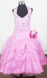 Halter and Hand Made Flower Beaded Pageant Dresses for Little Girl