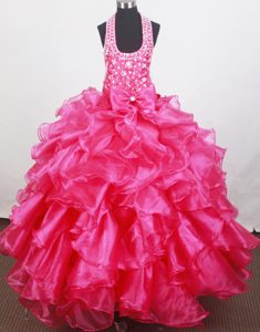 Ruffles and Bowknot for Halter Beaded Little Girl Pageant Dresses