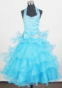 Ruffled Layers for Halter Little Girl Pageant Dresses in Aqua Blue