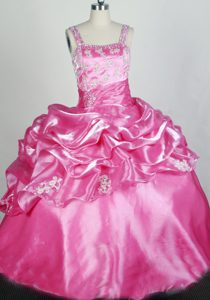 Pick-ups and Appliques for Lovely Rose Pink Girls Pageant Dresses
