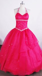 Halter Hot Pink Glitz Pageant Dresses Beading Accented in Delaware ...