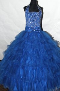 Beading and Ruffled Layers Decorate Halter Glitz Pageant Dresses