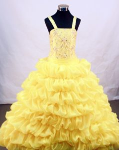 Yellow Straps Flower Girl Pageant Dress with Beading and Pick-ups