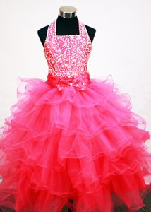 Halter Ruffled Layers Decorate Hot Pink Flower Girl Pageant Dress