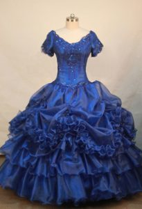 V-neck Short Sleeves Beading Decorate Flower Girl Pageant Dress in Blue