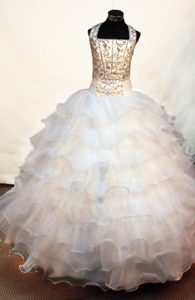 Halter Flower Girl Pageant Dress with Beading and Bowknot Decorate