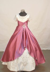 Scoop Flower Girl Pageant Dresses Beading and Embroidery Decorate