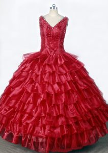 V-neck Ruffled Layers and Beading Red Little Girl Pageant Dress