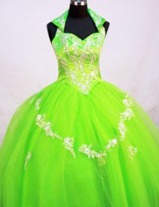 Halter Top Little Girl Pageant Dress in Spring Green With Appliques