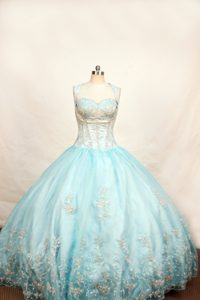 Light Blue Straps Little Girl Pageant Dress With Appliques in Phoenix
