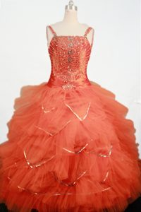 Orange Beading and Ruffled Layers Straps Little Girl Pageant Dress