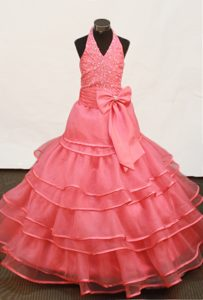 Watermelon Red Beading and Ruffled Layers Hater Girls Pageant Dress