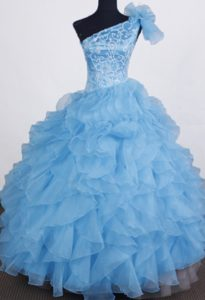 One Shoulder Organza Aqua Blue Little Girl Pageant Dress with Beading
