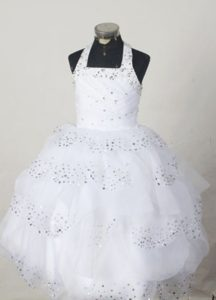 White Halter Little Girl Pageant Dress with Beading and Ruffles