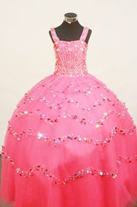 Strap Hot Pink Ball Gown Little Girl Pageant Dress with Beading