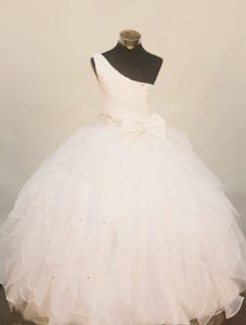 White One Shoulder Little Girl Pageant Dress with Beading In 2013