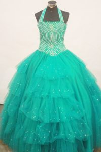 Beaded Turquoise Halter Little Girl Pageant Dress With Ruffled Layers