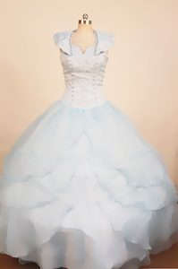 Light Blue 2013 Scoop Little Girl Pageant Dress With Ruffled Layers