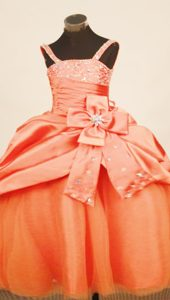 Orange Red Straps Little Girl Pageant Dress with Pick-ups and Beading