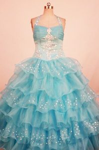 Aqua Blue Halter Beaded Little Girl Pageant Dress with Ruffled Layers