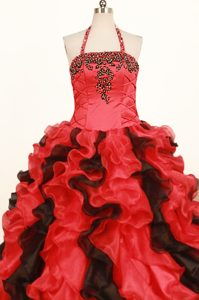 Red Ball Gown Halter Ruffled and Beaded Girls Pageant Dress In Aloha