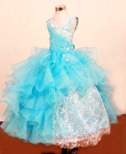 Baby Blue Scoop Little Girl Pageant Dress with Ruffled Layered and Lace