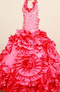 Coral Red Halter Little Girl Pageant Dress with Ruffles and Beading