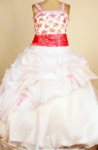 White and Red Ball Gown Square Pick-ups Little Girl Pageant Gown