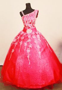 Asymmetrical 2013 Little Girl Pageant Dress in Coral Red with Appliques