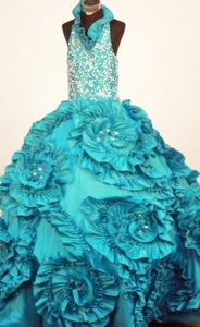 Turquoise Turquoise Little Girl Pageant Dress with Ruffles and Beading