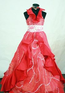 Halter Red Organza Beaded and Ruffled Little Girl Pageant Dress