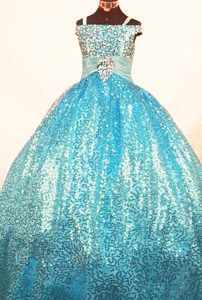 Paillette Over Skirt Ball Gown Straps Teal Pageant Dress for Girls
